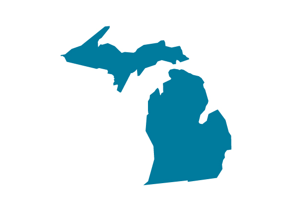 The shape of the state of Michigan