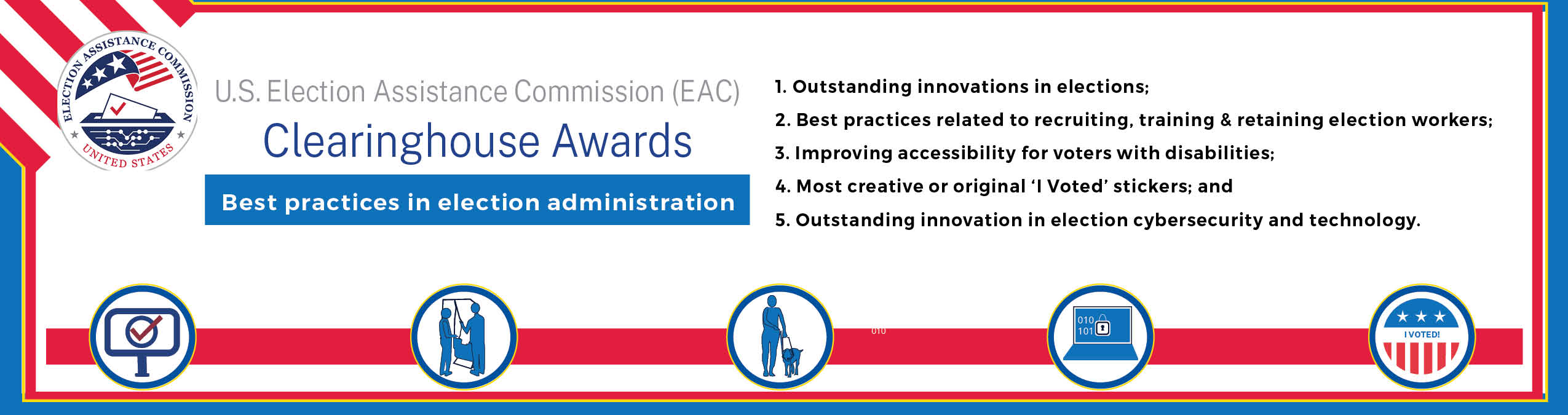 EAC 2020 Clearinghouse Awards: 1. Outstanding innovations in elections; 2. Best practices related to recruiting, training & retaining election workers;  3. Improving accessibility for voters with disabilities;  4. Special 2019 category: Most creative or original 'I Voted' stickers and 5. Outstanding innovation in election cybersecurity and technology.